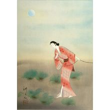 Takane Kôkô: Woman in Pink Kimono by Moonlight, Shôwa period, circa 1930s - ハーバード大学