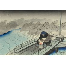 伊東深水: Ferry Boat, Taishô period, dated 1918 - ハーバード大学