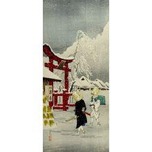 Takahashi Hiroaki: Two Mendicants Approaching Torii in Snow - Harvard Art Museum