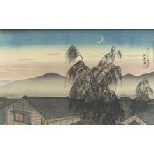 橋口五葉: Evening Crescent Moon at Kôbe (Kôbe no Yoizuki), Taishô period, dated 1920 - ハーバード大学