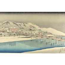 Hashiguchi Goyo: Sanjo Bridge, Kyoto (Kyoto Sanjo Ohashi), looking East, Taishô period, dated 1920 - Harvard Art Museum