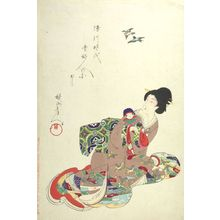 Toyohara Chikanobu: Resembling a Branch (Eda ni utsusu), from the series The Appearance of Upper-Class Women of the Edo Period (Tokugawa jidai kifujin no sugata) -- Woman with a Doll, Meiji period, dated October 10, 1896 - Harvard Art Museum