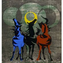 Nakayama Tadashi: Neighing Horses (Kaze ni hoyu / Uma), Shôwa period, dated 1958 - Harvard Art Museum