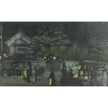 織田一磨: Tempura Shops at Kagurazaka, from the series Tokyo fûkei hangashû, Taishô period, dated 1917 - ハーバード大学