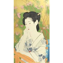 橋口五葉: Woman Standing Before a Blossoming Peach Tree, Taishô period, dated 1918 - ハーバード大学