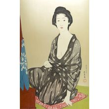 Hashiguchi Goyo: Woman Seated on a Pillow Before a Low Dressing Table, Taishô period, dated 1918 (7th month of Taishô 9) - Harvard Art Museum