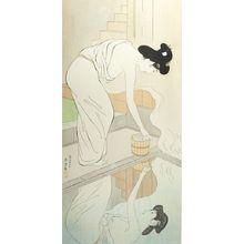 橋口五葉: Woman Preparing to Bathe, Her Image Reflected in the Water, Taishô period, dated 1918 (8th month of Taishô 9) - ハーバード大学