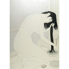 Hashiguchi Goyo: Female Bather Kneeling to Wash and Comb Her Hair, Taishô period, dated 1918 (7th month of Taishô 9) - Harvard Art Museum