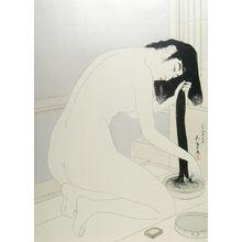 橋口五葉: Female Bather Kneeling to Wash and Comb Her Hair, Taishô period, dated 1918 (7th month of Taishô 9) - ハーバード大学