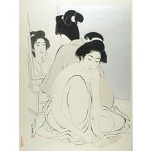 Hashiguchi Goyo: Two Female Bathers, One Kneeling and Giving Herself a Pedicure, One Seated and Looking at Her Reflection in a Mirror, Taishô period, dated 1918 (7th month of Taishô 9) - Harvard Art Museum