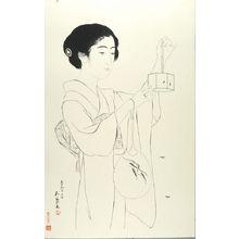 Hashiguchi Goyo: Woman with a Circular Fan and with a Small, Hexagonal Box with Fireflies, Taishô period, dated 1918 (7th month of Taishô 9) - Harvard Art Museum
