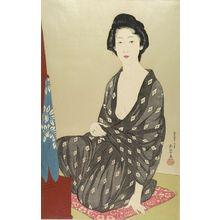 橋口五葉: Woman in Summer Kimono (Natsui no onna), Taishô period, dated 1920 - ハーバード大学