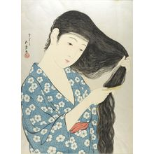 Hashiguchi Goyo: Woman Combing Her Hair, Taishô period, dated 1920 - Harvard Art Museum