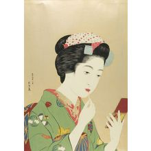 橋口五葉: Chiyozuru Painting Her Mouth, Taishô period, dated 1920 - ハーバード大学