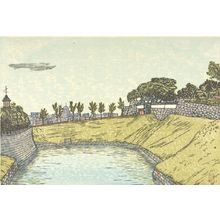 Hiratsuka Un'ichi: Tayasu Gate of Kudan (Kudan Tayasumon?), from the series Eight Views Around the Moat (Horibata hakkei), Shôwa period, circa 1930-1931? - ハーバード大学