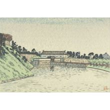 Hiratsuka Un'ichi: Sakurada Gate (Sakuradamon?), from the series Eight Views Around the Moat (Horibata hakkei), Shôwa period, circa 1930-1931? - Harvard Art Museum