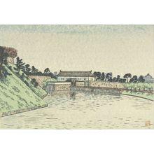 Hiratsuka Un'ichi: Sakurada Gate (Sakuradamon?), from the series Eight Views Around the Moat (Horibata hakkei), Shôwa period, circa 1930-1931? - Harvard Art Museum