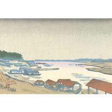 Hiratsuka Un'ichi: Rain on the Tama River, Shôwa period, - Harvard Art Museum