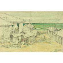 川瀬巴水: Cloudy Day in Mito, Shôwa period, dated 1946 - ハーバード大学