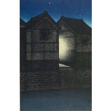 川瀬巴水: Shinkawa at Night (Yoru no Shinkawa), from the series Twelve Tokyo Subjects (Tokyo jûnidai), Taishô period, dated 1919 - ハーバード大学