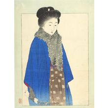 Takeuchi Keishu: Woman Wearing Fur and Gloves with Traditional Clothing - Harvard Art Museum