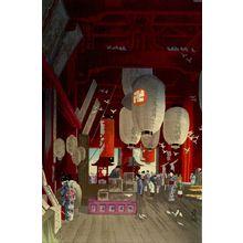 Narazaki Eisho: Interior of Asakusa Kannon Temple (Asakusa Kannon no naidô), Shôwa period, dated 1932 - ハーバード大学