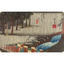 Utagawa Hiroshige: Station 50 -- Spring Rain at Tsuchiyama (Tsuchiyama haru no ame), from the series Fifty-three Stations of the Tôkaidô (Tôkaidô gojûsan-tsugi no uchi) - Harvard Art Museum
