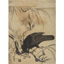 磯田湖龍齋: Crow and Heron, Mid Edo period, circa 1772 - ハーバード大学