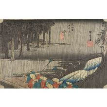 Utagawa Hiroshige: Station 50 -- Spring Rain at Tsuchiyama (Tsuchiyama, haru no ame), from the series Fifty-three Stations of the Tôkaidô (Tôkaidô gojûsan-tsugi no uchi) - Harvard Art Museum