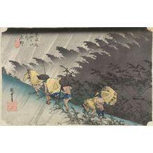 Utagawa Hiroshige: Station 46 -- Shôno in Driving Rain (Shôno haku-u), from the series Fifty-three Stations of the Tôkaidô (Tôkaidô gojûsan-tsugi no uchi) - Harvard Art Museum