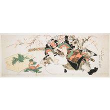 Utagawa Toyohiro: Asahina Trying to Separate Rice Cakes, Edo period, 1827 - Harvard Art Museum