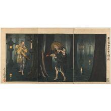 小林清親: Taira no Tadamori Captures the Priest of Midô Temple (Taira no Tadamori Midô hôshi o toraeru zu), c. 1883-1884 - ハーバード大学