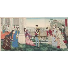 小林清親: Triptych: Emperor Meiji and His Consort in the Plum Garden (Miyo shun'e no baien), Meiji period, dated 1887 - ハーバード大学