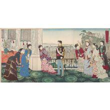 Kobayashi Kiyochika: Triptych: Emperor Meiji and His Consort in the Plum Garden (Miyo shun'e no baien), Meiji period, dated 1887 - Harvard Art Museum