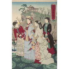 小林清親: Emperor Meiji and His Consort in the Plum Garden (Miyo shun'e no baien), Meiji period, dated 1887 - ハーバード大学