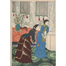 小林清親: Emperor Meiji and His Consort in the Plum Garden (Miyo shun'e no baien), Meiji period, dated 1887 - ハーバード大学