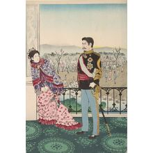 Kobayashi Kiyochika: Emperor Meiji and His Consort in the Plum Garden (Miyo shun'e no baien), Meiji period, dated 1887 - Harvard Art Museum