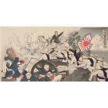 Mizuno Toshikata: Triptych: Attacking Pyongyang: The Japanese Army Forged through the Enemy Stronghold (Heijô Kôgeki waga gun tekiruio nuku), Meiji period, dated 1894 - Harvard Art Museum
