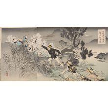 Mizuno Toshikata: Triptych: Captain Matsuzaki Crossing Anjô Reveals His Great Bravery (Anjô o watari Daigekisen Matsuzaki Taii yûmô), Meiji period, dated 1894 - Harvard Art Museum