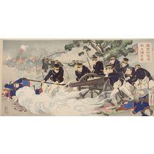 Mizuno Toshikata: Triptych: The Foreign Enemy Giving Up (Hôôjô kanraku tekihei isô zu), Meiji period, dated 1894 - Harvard Art Museum