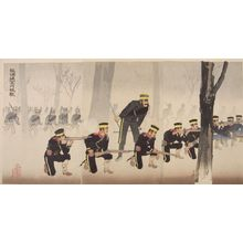 小林清親: Triptych: Battle at Kinshujô on the way to Ryojun (Ryojun-dô Kinshujô sen), Meiji period, dated 1894 - ハーバード大学