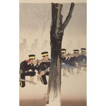 小林清親: Battle at Kinshujô on the way to Ryojun (Ryojun-dô Kinshujô sen), Meiji period, dated 1894 - ハーバード大学
