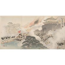 尾形月耕: Triptych: Great Victory for the Japanese Army at P'yông Yang (Nichigun Heijô taisho no zu), Meiji period, dated 1894 - ハーバード大学