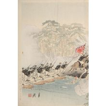 尾形月耕: Great Victory for the Japanese Army at P'yông Yang (Nichigun Heijô taisho no zu), Meiji period, dated 1894 - ハーバード大学