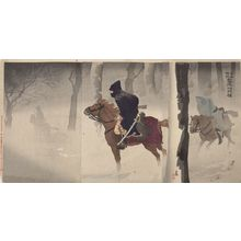 Kobayashi Kiyochika: Triptych: Night Patrol in the Snow near Niu-chuang (Gyûsô fukin setsuya no sekkô), Meiji period, - Harvard Art Museum