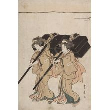 歌川豊広: Procession of Women Carrying Palanquin - ハーバード大学