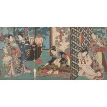 歌川国貞: Triptych: Listening to the Koto - ハーバード大学