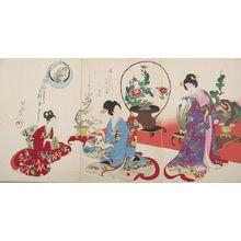 Toyohara Chikanobu: Triptych: Arranging Flowers (Ikebana), from the series The Appearance of Upper-Class Women of the Edo Period (Tokugawa jidai kifujin no sugata), Meiji period, dated September 1, 1900 - Harvard Art Museum