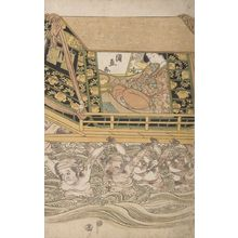 Ichiensai Kuninao: Woman Carried Across Water in Palanquin (Harugeshiki musume dochu) - Harvard Art Museum