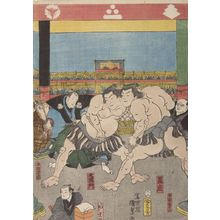 歌川国貞: Sumô Wrestling Tournament (Kanzin ôsumô torikumi no zu), Late Edo period, 1858 - ハーバード大学